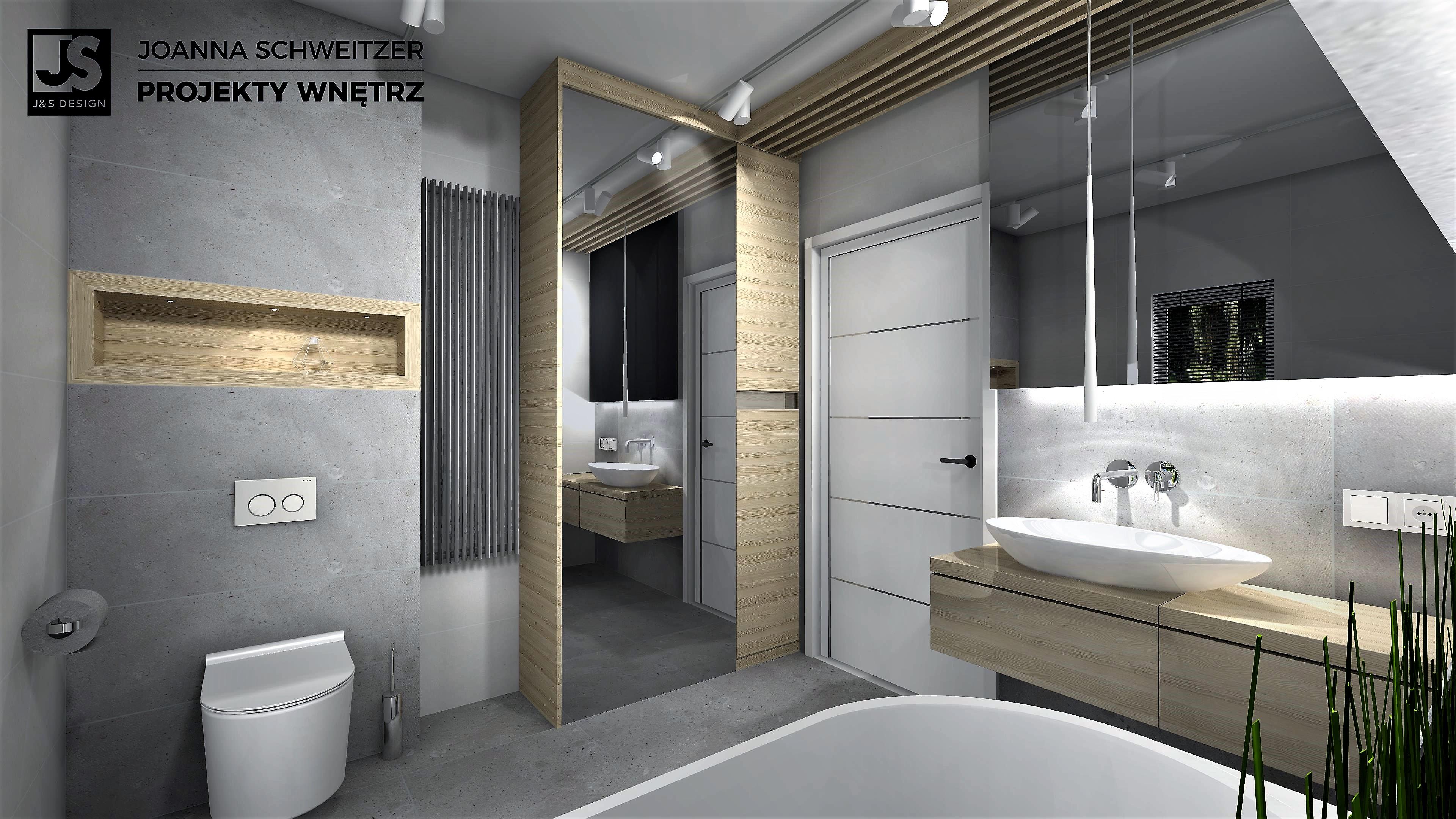 łazienka Beton Z Drewnem Js Design Joanna Schweitzer
